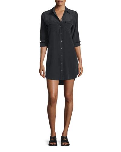 Slim Signature Long-Sleeve Dress, True Black