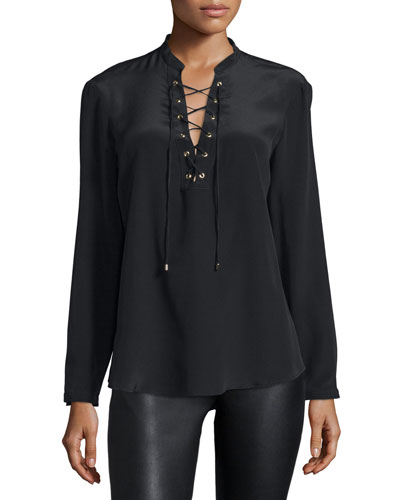 Winslow Lace-Up Long-Sleeve Top, Black