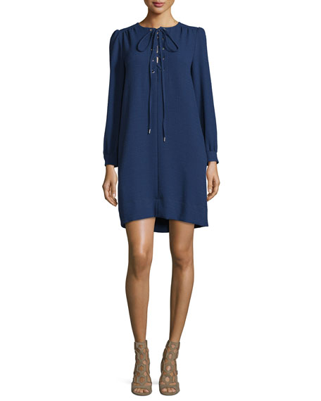 See by Chloe Long-Sleeve Lace-Up Dress, Navy