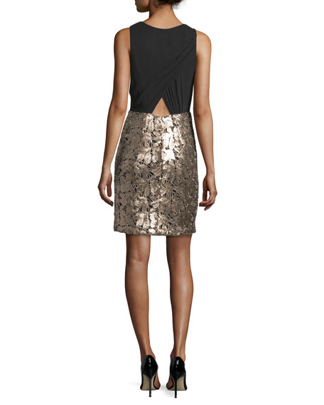 Sleeveless Combo Cocktail Dress, Gold