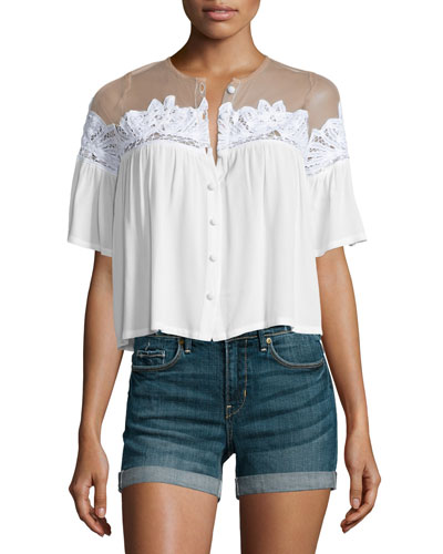 Carmine Button-Front Crop Top, White