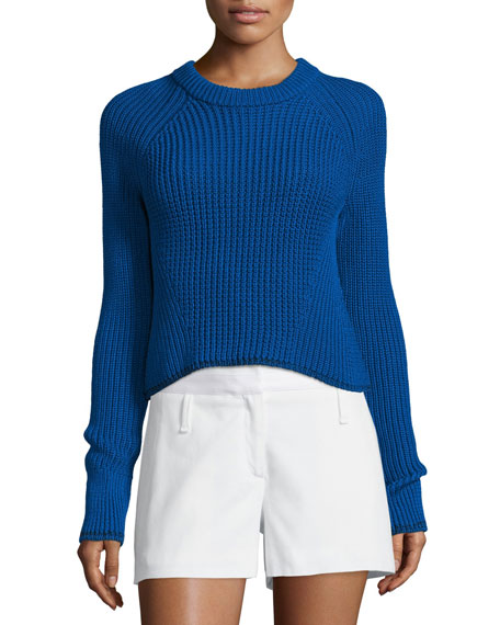 Rag & Bone Beatrix Ribbed Cotton Sweater, Clematis Blue