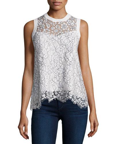 Nia Sleeveless Lace Blouse, Black/White