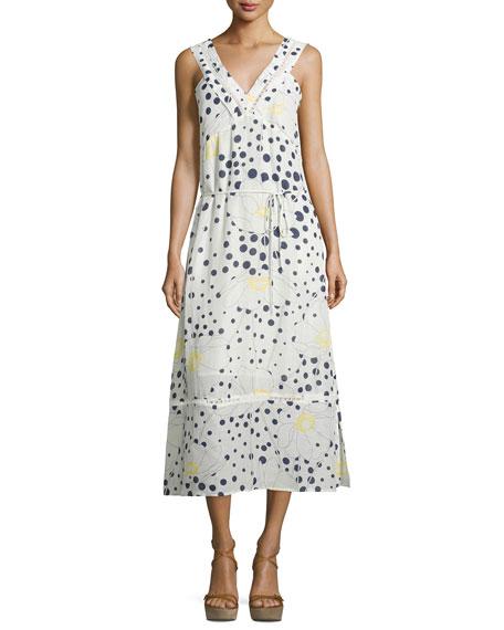 bd1da914777 Lyst - Chloé Gauzy Linen Ruffle Mini Dress in Natural See by Chloe  Sleeveless Floral- -Dot-Print Midi Dress