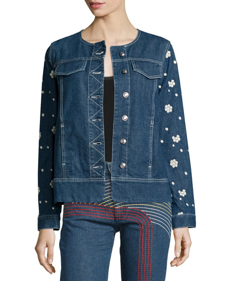See by Chloe Floral-Embroidered Denim Jacket, Denim