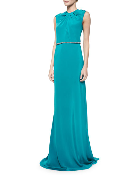 Carmen Marc Valvo Sleeveless Embellished-Waist Gown, Peacock