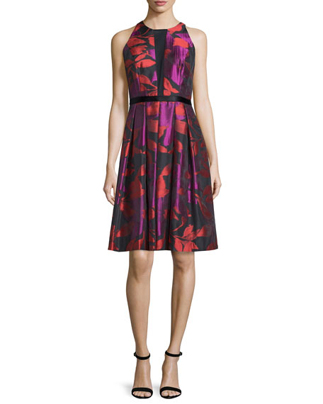 Carmen Marc Valvo Sleeveless Floral-Print Cocktail Dress, Floral Print