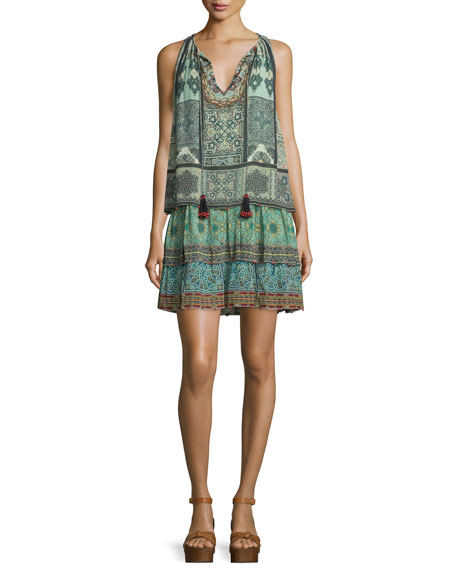 Hemant and Nandita Sleeveless Printed Tiered Dress, Green
