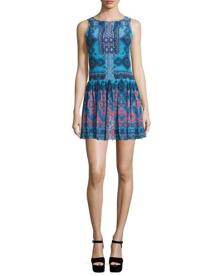 Hemant and Nandita Sleeveless Rug-Print Mini Dress, Blue