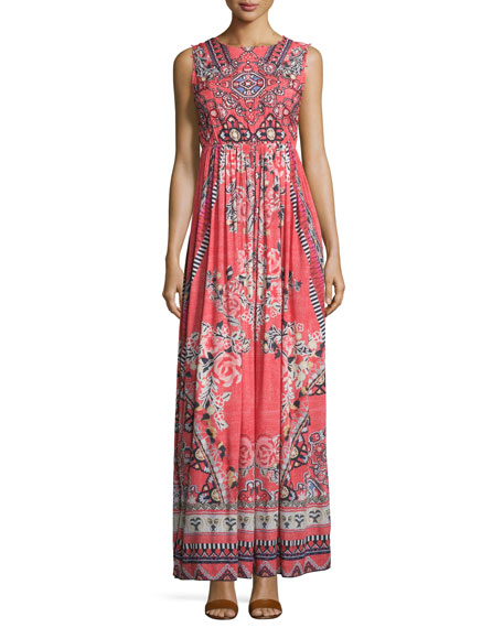 Hemant and Nandita Sleeveless Embellished Multi-Print Maxi Dress, Red