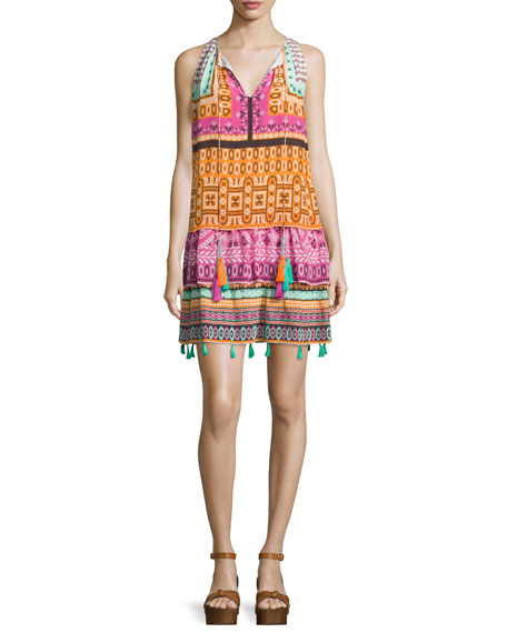 Hemant and Nandita Sleeveless Cross-Stitch Printed Dress, Multi