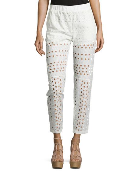 See by Chloe Mid-Rise Slim-Leg Eyelet Pants, White
