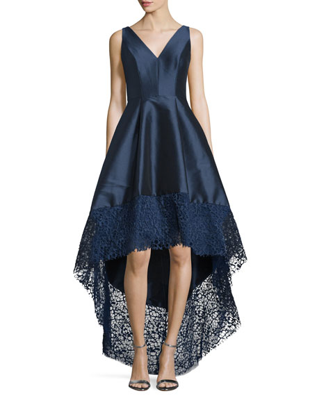 ML Monique Lhuillier Sleeveless High-Low Midi Cocktail Dress