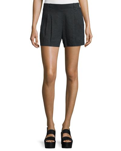 Solid Linen-Blend Shorts, Black
