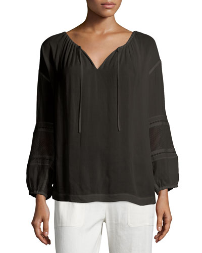 Split-Neck Blouse with Lace Inset, Black