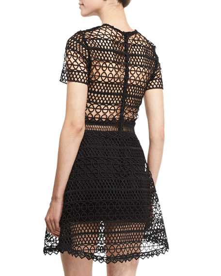 Vincent Short-Sleeve Crochet Mini Dress