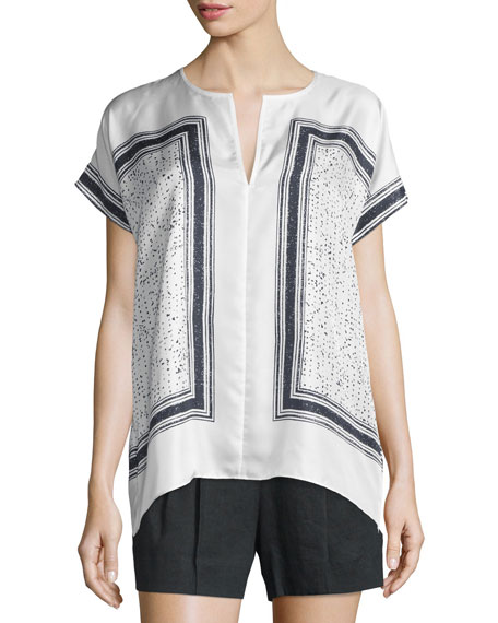 Vince Scarf-Print Silk Popover Top, White/Black