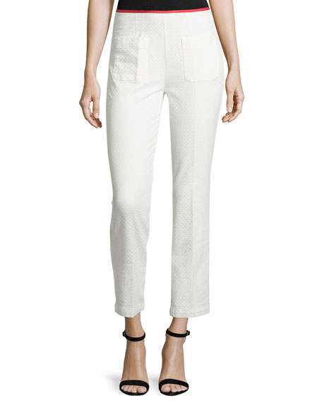 See by Chloe Jacquard Patch-Pocket Ankle Pants, White