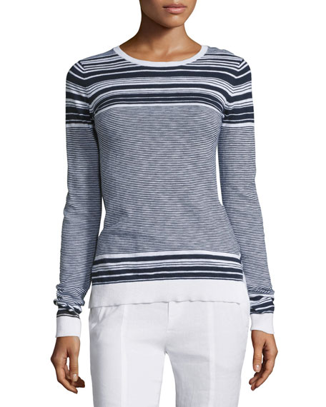 Multi-Striped Long-Sleeve Slub Sweater
