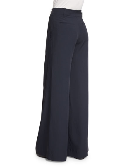 Wide-Leg Pleated Trousers, Coastal