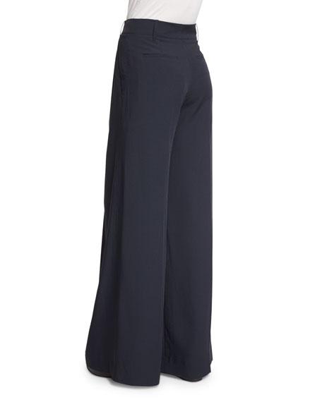 Wide-Leg Pleated Trousers, Coastal