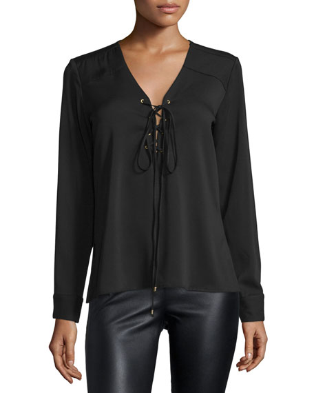 Karina Grimaldi Mora Long-Sleeve Lace-Up Top, Black