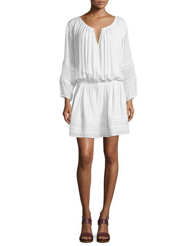 Lace-Inset Popover Dress, Off White