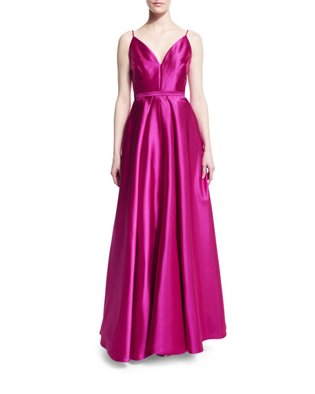 ML Monique Lhuillier Sleeveless Belted Mikado Ball Gown, Sorbet