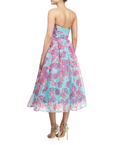 Strapless Floral Organza Fit & Flare Midi Dress