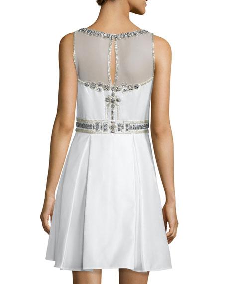 Sleeveless Fit & Flare Beaded-Bodice Dress