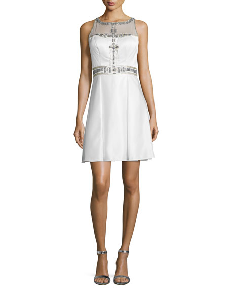 Sleeveless Fit & Flare Beaded-Bodice Dress