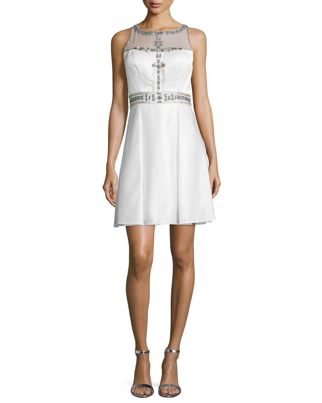 Sue Wong Sleeveless Fit & Flare Beaded-Bodice Dress | Neiman Marcus