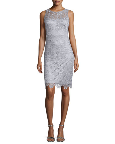 Sleeveless Lace Sheath Cocktail Dress