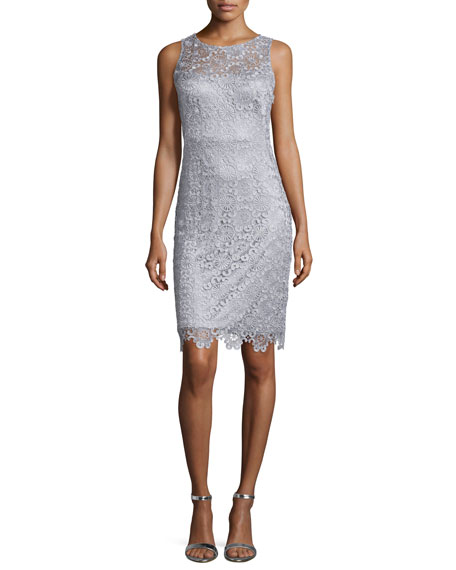 Sue Wong Sleeveless Lace Sheath Cocktail Dress