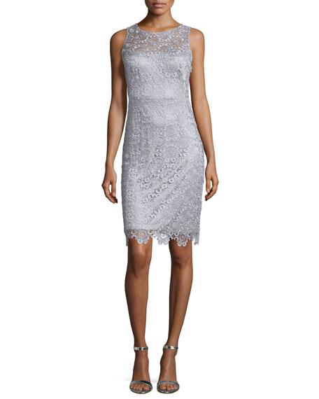 Sue Wong Sleeveless Lace Sheath Cocktail Dress