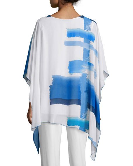 Brushstroke Blues 3/4-Sleeve Caftan, Blue/White