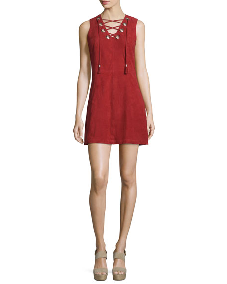 LaMarque Ilia Lace-Up Suede Dress, Rosso