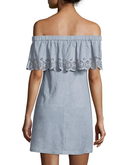 Leah Off-The-Shoulder Suede Dress, Blue Fog