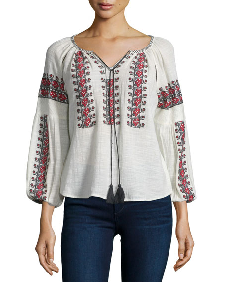 Love Sam Drea 3/4-Sleeve Embroidered Top, Cloud/Red