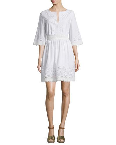 Larissa Lace & Crochet Dress, White