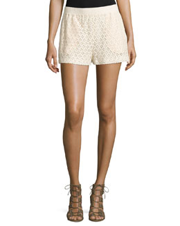 Mid-Rise Lace Shorts, Beige
