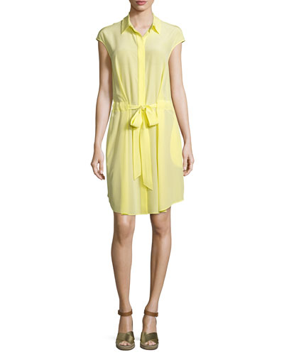 Gigi Cap-Sleeve Belted Shirtdress, Lemon Curd