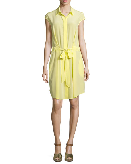 Tory Burch Gigi Cap-Sleeve Belted Shirtdress, Lemon Curd