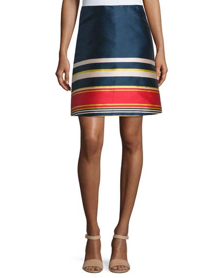 Suno Silk A-Line Skirt, Multicolor