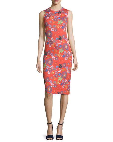 Suno Sleeveless Cotton Floral Sheath Dress, Red