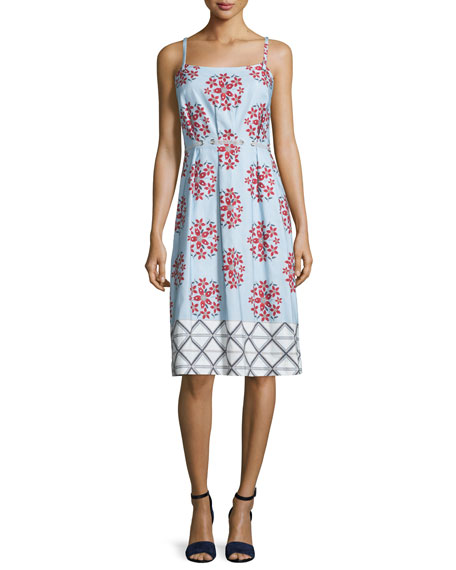 Suno Sleeveless Floral Faille Shift Dress, Blue