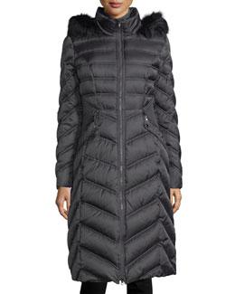 Fur-Trim Long Puffer Coat, Slate
