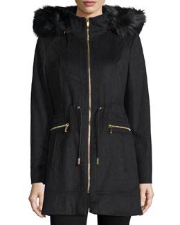 Hooded Faux-Fur Trim Jacket, Black