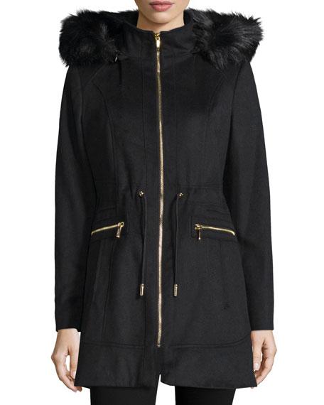 Laundry by Shelli Segal Hooded Faux-Fur Trim Jacket, Black