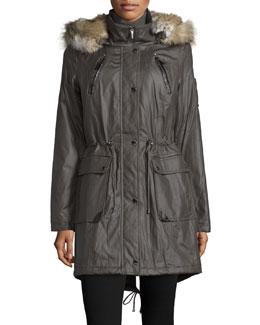 Fur-Trim Drawstring-Waist Coat, Smokestone
